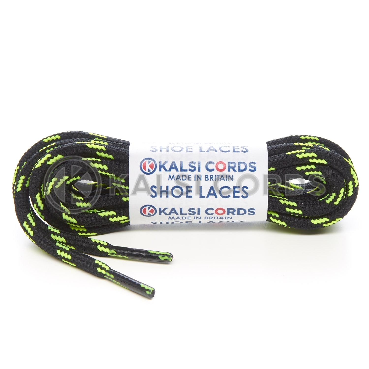 T621 5mm Round Cord Shoe Laces Black Fluorescent Yellow 4 Fleck Kids Trainers Adults Hiking Walking Boots Kalsi Cords