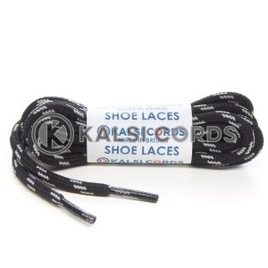 T621 5mm Round Cord Shoe Laces Black Light Grey 4 Fleck Kids Trainers Adults Hiking Walking Boots Kalsi Cords