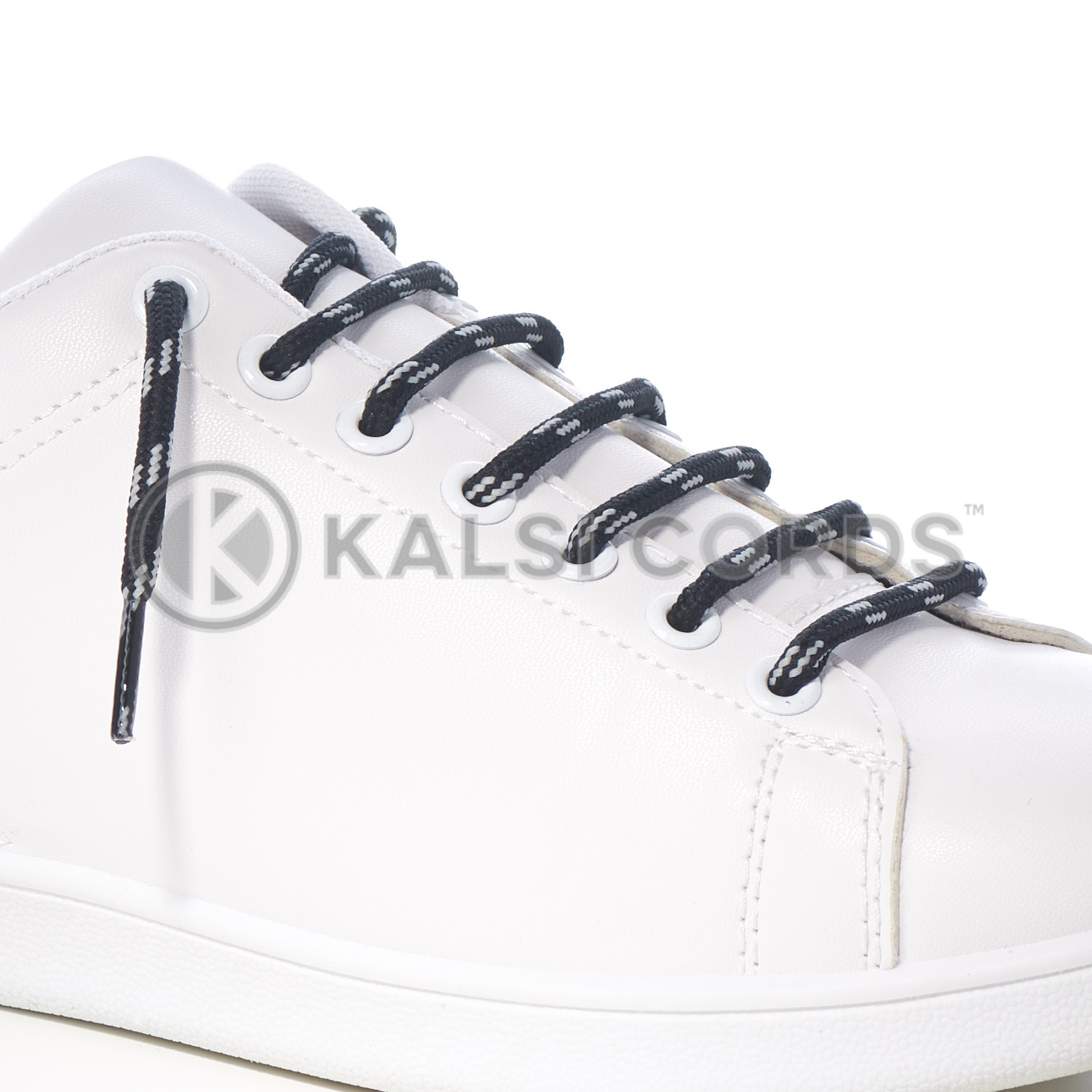 T621 5mm Round Cord Shoe Lace Black Light Grey 4 Fleck Kids Trainers Adults Hiking Walking Boots Kalsi Cords