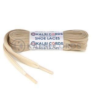 T638 8mm Flat Tubular Shoe Laces Cream 1 Kalsi Cords
