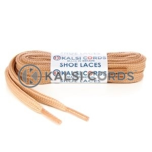 T638 8mm Flat Shoe Laces Tubular Dark Beige PG659 Sports Trainers Boots Footwear
