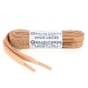 T638 8mm Flat Tubular Shoe Laces Dark Beige 1 Kalsi Cords