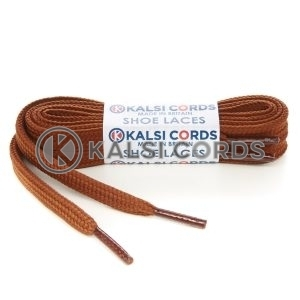 T638 8mm Flat Shoe Laces Tubular Nutmeg Brown PG935 Sports Trainers Boots Footwear