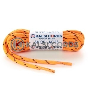 T621 5mm Round Cord Fluorescent Shoe Laces Orange Black 2 Fleck Kids Trainers Adults Hiking Walking Boots Kalsi Cords