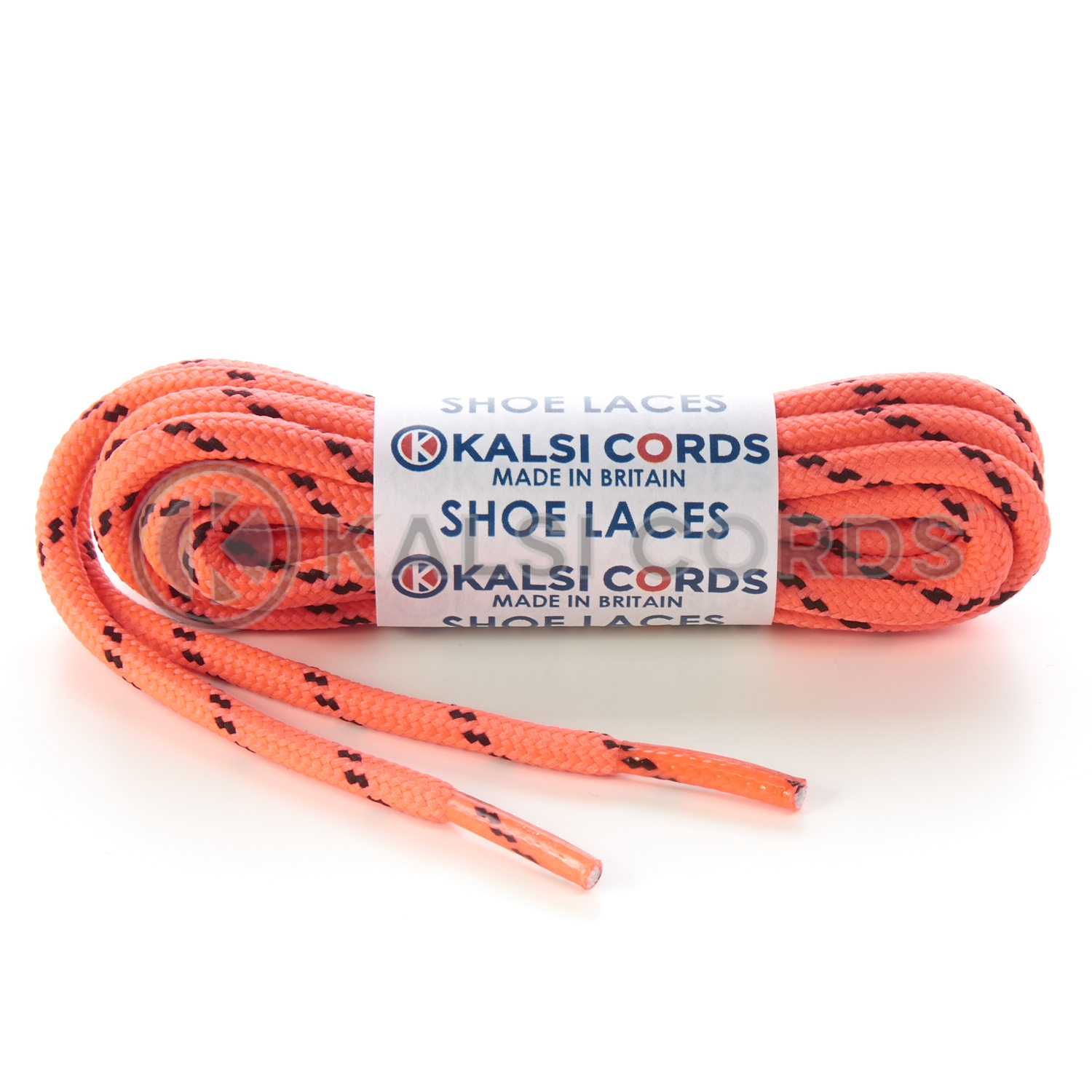 T621 5mm Round Cord Fluorescent Shoe Laces Pink Black 2 Fleck Kids Trainers Adults Hiking Walking Boots Kalsi Cords