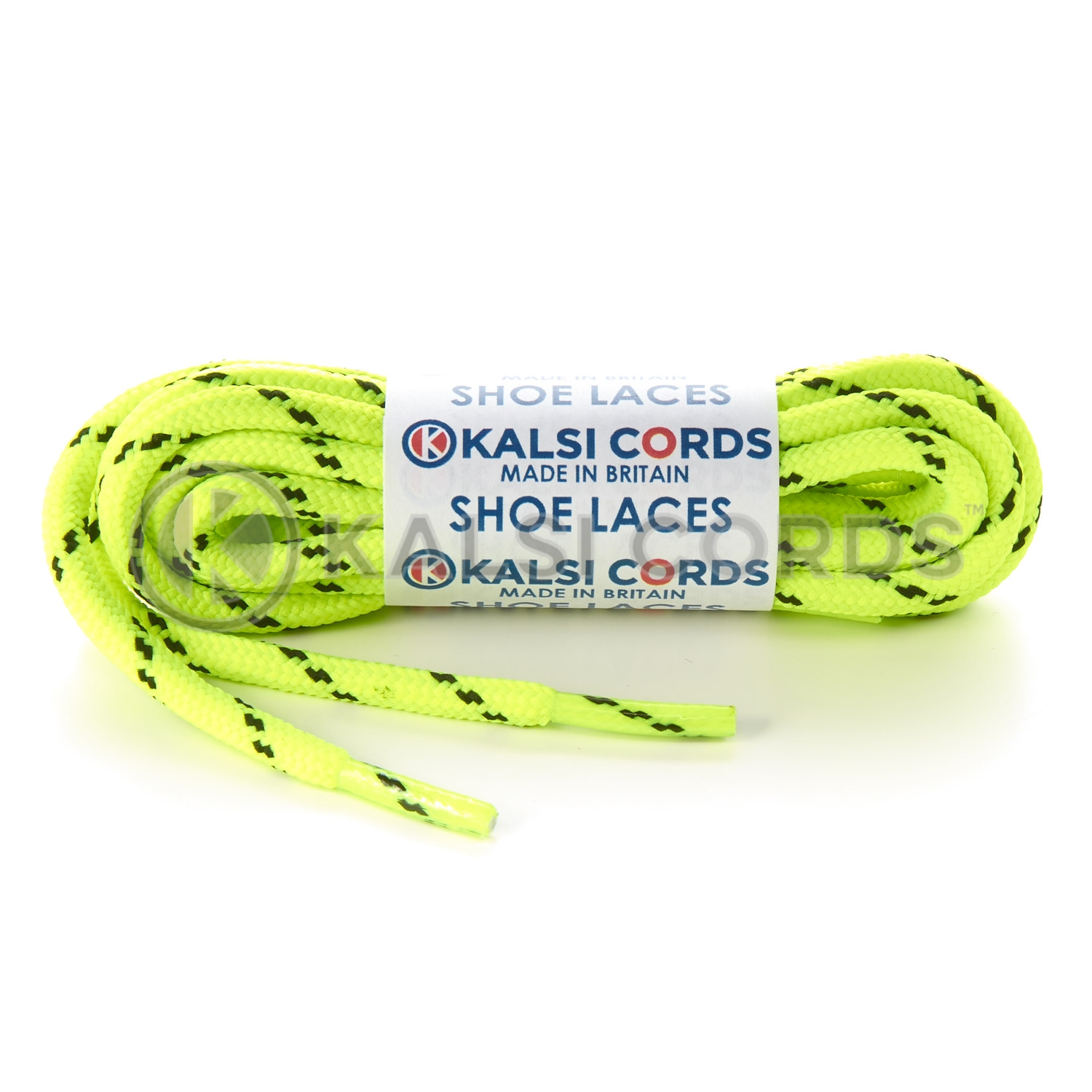 T621 5mm Round Cord Fluorescent Shoe Laces Yellow Black 2 Fleck Kids Trainers Adults Hiking Walking Boots Kalsi Cords