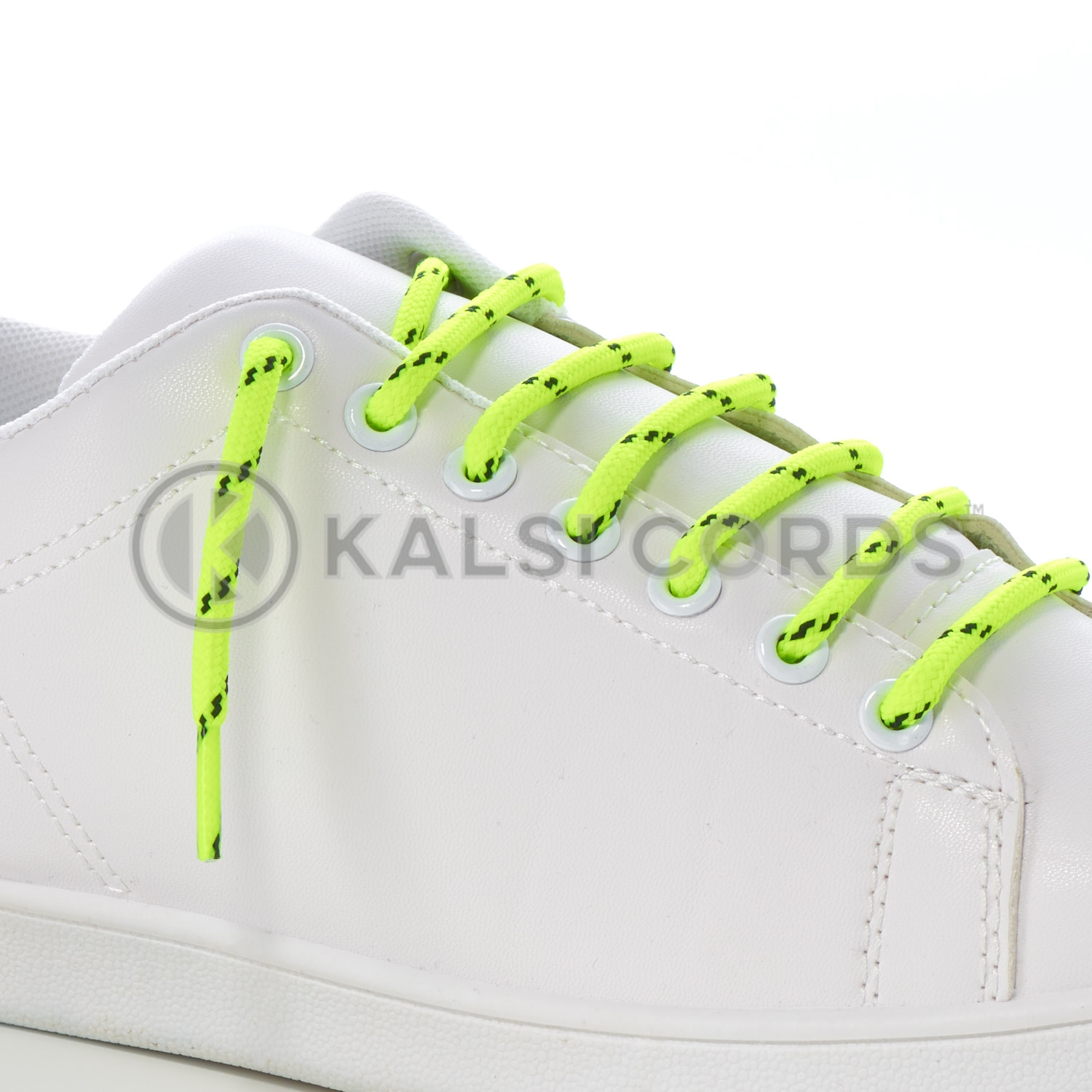 T621 5mm Round Cord Fluorescent Shoe Lace Yellow Black Kids Trainers Adults Hiking Walking Boots Kalsi Cords