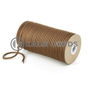 5mm Round Dark Beige Polyester Cord Braided String Drawcord Drawstring Joggers Hoody Bag T621 Kalsi Cords