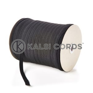 Black 10mm 12 Cord Flat Braided Elastic Roll Sewing Tailoring Face Masks TPE244 Kalsi Cords