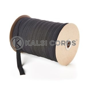 Black 12mm 12 Cord Flat Braided Elastic Roll Sewing Tailoring Face Masks FLE1 Kalsi Cords