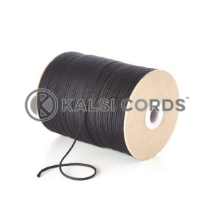 Black 2mm Round Cotton Cord by Kalsi Cords