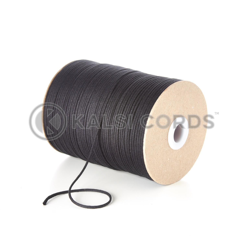 Black 2mm Round Cotton Cord Thin Tubular Braided String Swing Tags C156 Kalsi Cords