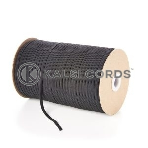 Black 4mm 6 Cord Flat Braided Elastic Roll Sewing Face Masks TPE10 Kalsi Cords