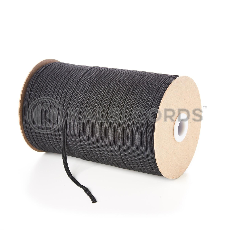 4mm 6 Cord Black Flat Braided Elastic Kalsi Cords