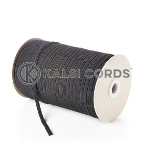 Black 6mm 8 Cord Flat Braided Elastic Roll Sewing Tailoring Face Masks TPE11 Kalsi Cords
