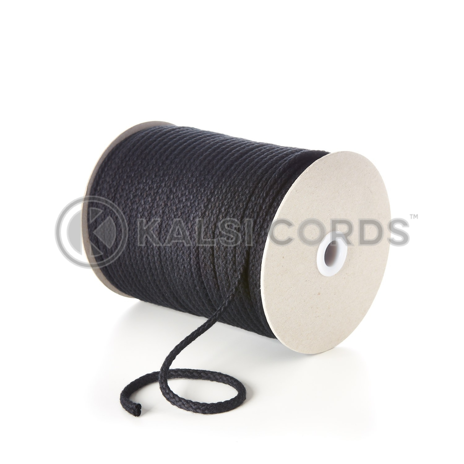 Black 6mm Round Cotton Cord Braided String Drawcord Drawstring C212 Kalsi Cords
