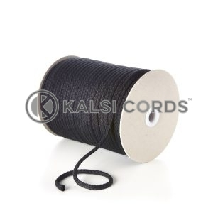 Black 7mm Round Cotton Cord by Kalsi Cords