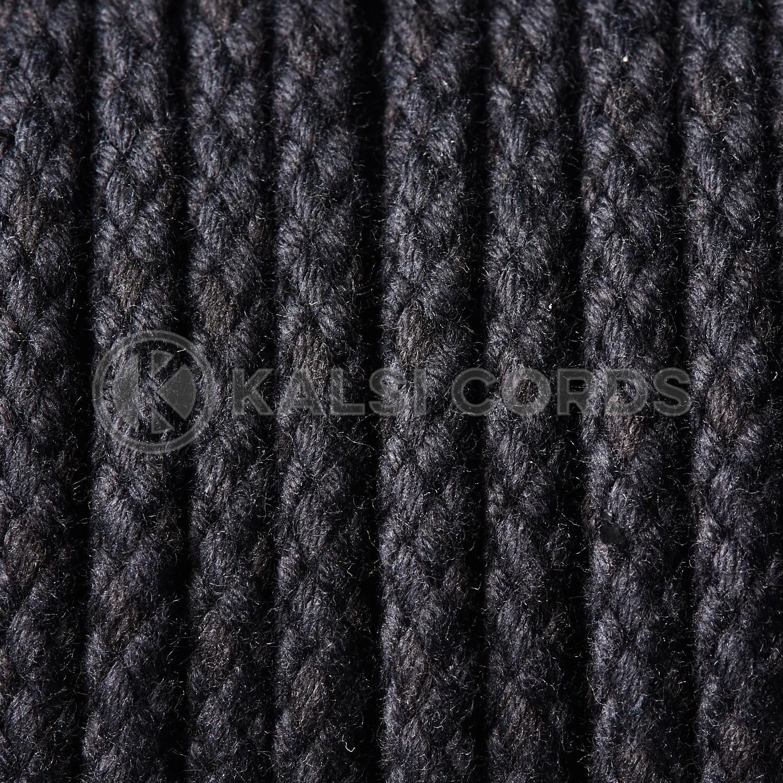 Black 7mm Round Cotton Cord Braided String Drawcord Drawstring C213 Kalsi Cords