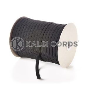 Black 8mm 10 Cord Flat Braided Elastic Roll Sewing Tailoring Face Masks TPE225 Kalsi Cords