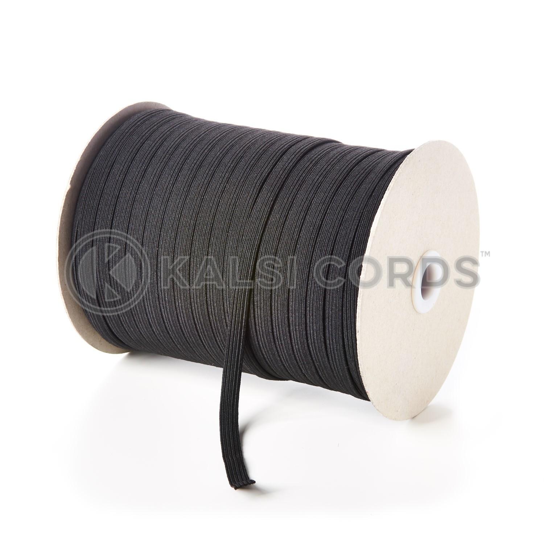 8mm 10 Cord Black Flat Braided Elastic Kalsi Cords