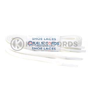 C242 White Premium Flat Cotton Shoe Laces Kalsi Cords