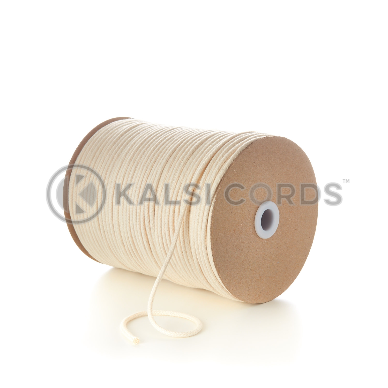 Natural Undyed 4mm Round Cotton Cord Thin Braided String Piping Cushion Edging C223 Kalsi Cords