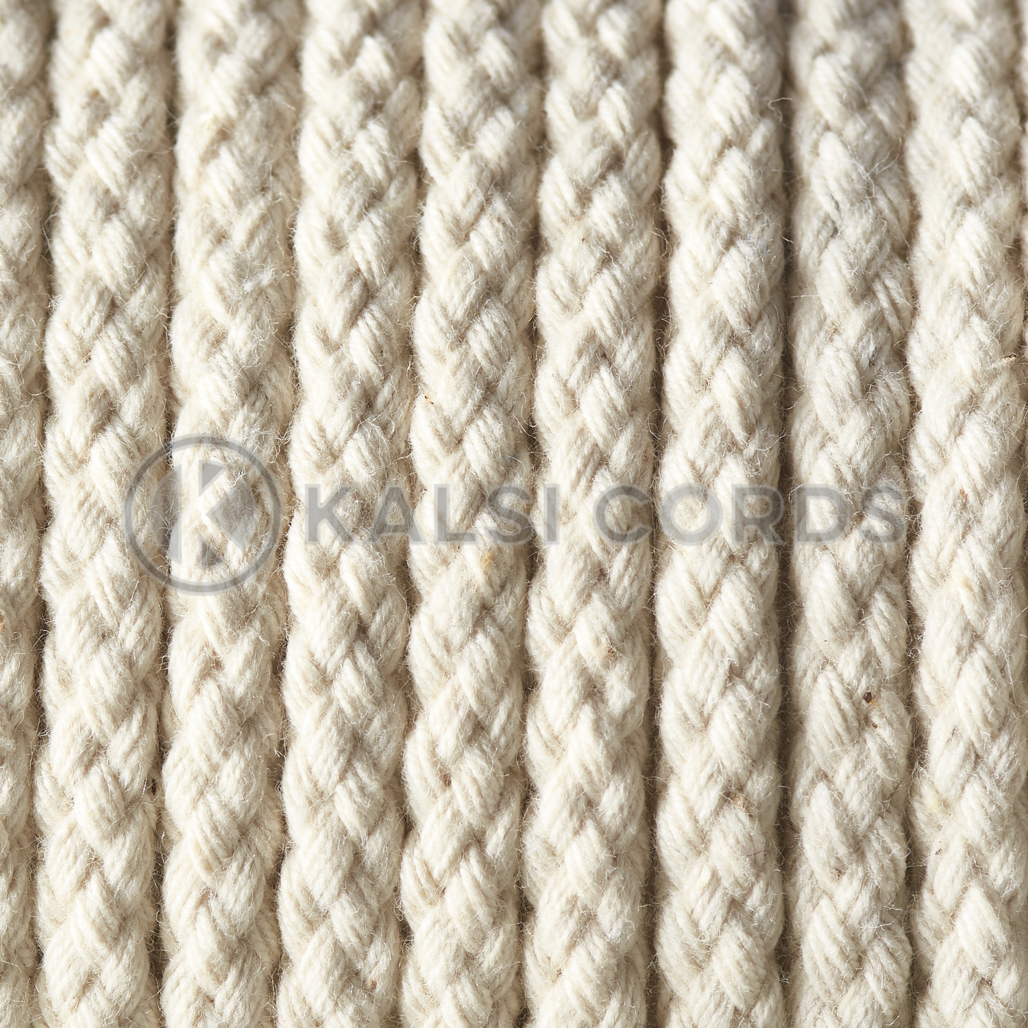 Natural Undyed 6mm Round Cotton Cord Braided String Drawcord Drawstring C212 Kalsi Cords