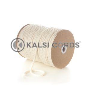 Natural Undyed 7mm Round Cotton Cord Braided String Drawcord Drawstring C213 Kalsi Cords