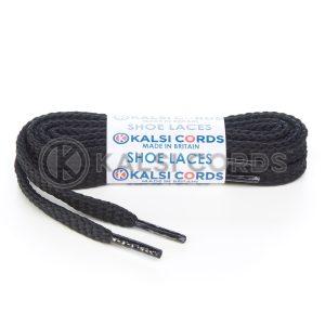 R1472 9mm Flat Diamond Pattern Premium Shoe Laces Black 1 Kalsi Cords