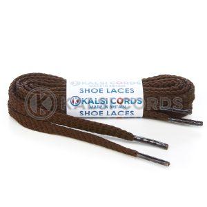 R1472 9mm Flat Diamond Pattern Premium Shoe Laces Brown 1 Kalsi Cords