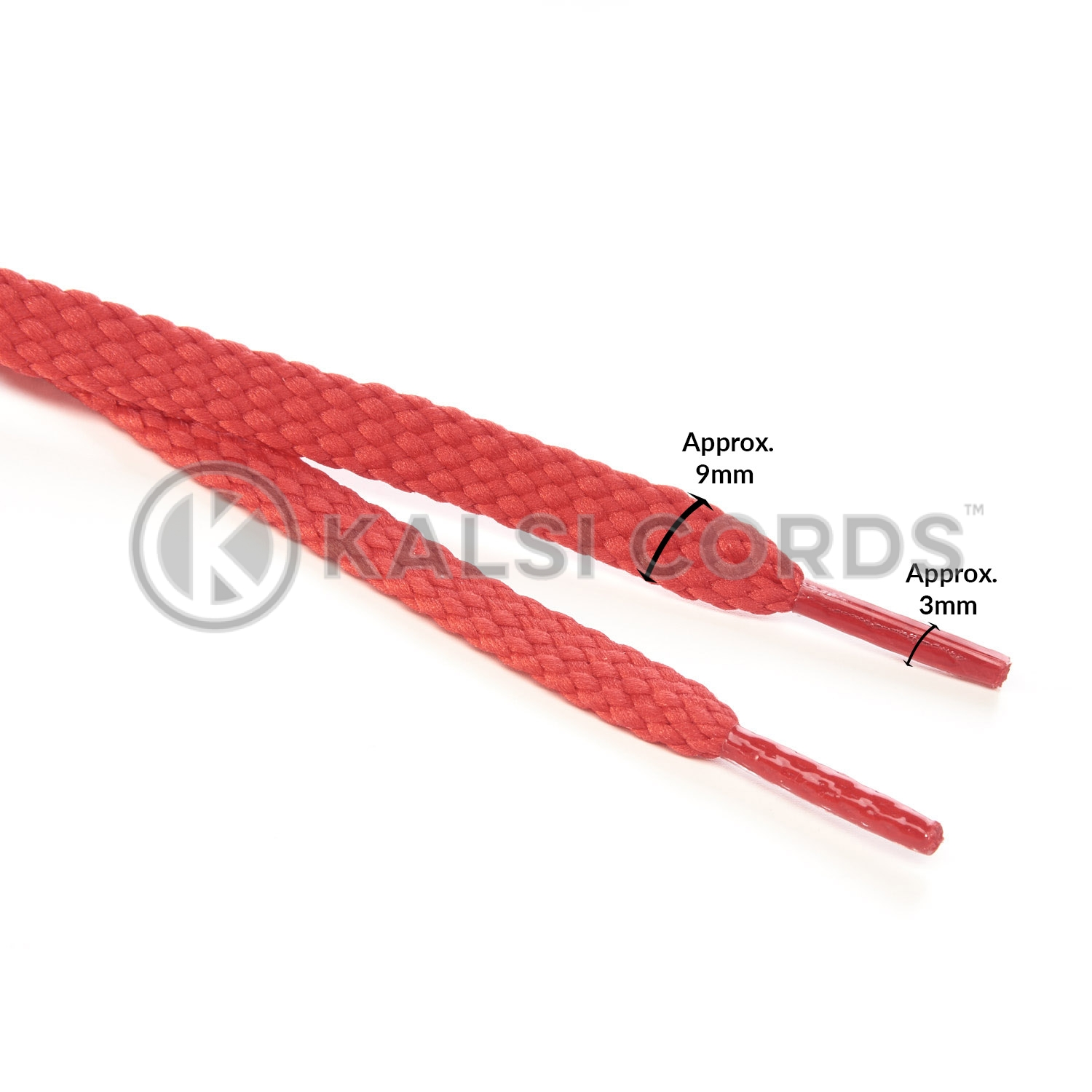 R1472 Red Sports Flat Shoe Laces Kalsi Cords