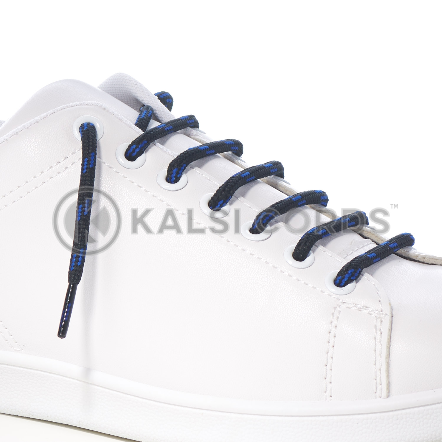 T621 5mm Round Cord Shoe Lace Black Royal Blue 4 Fleck Kids Trainers Adults Hiking Walking Boots Kalsi Cords