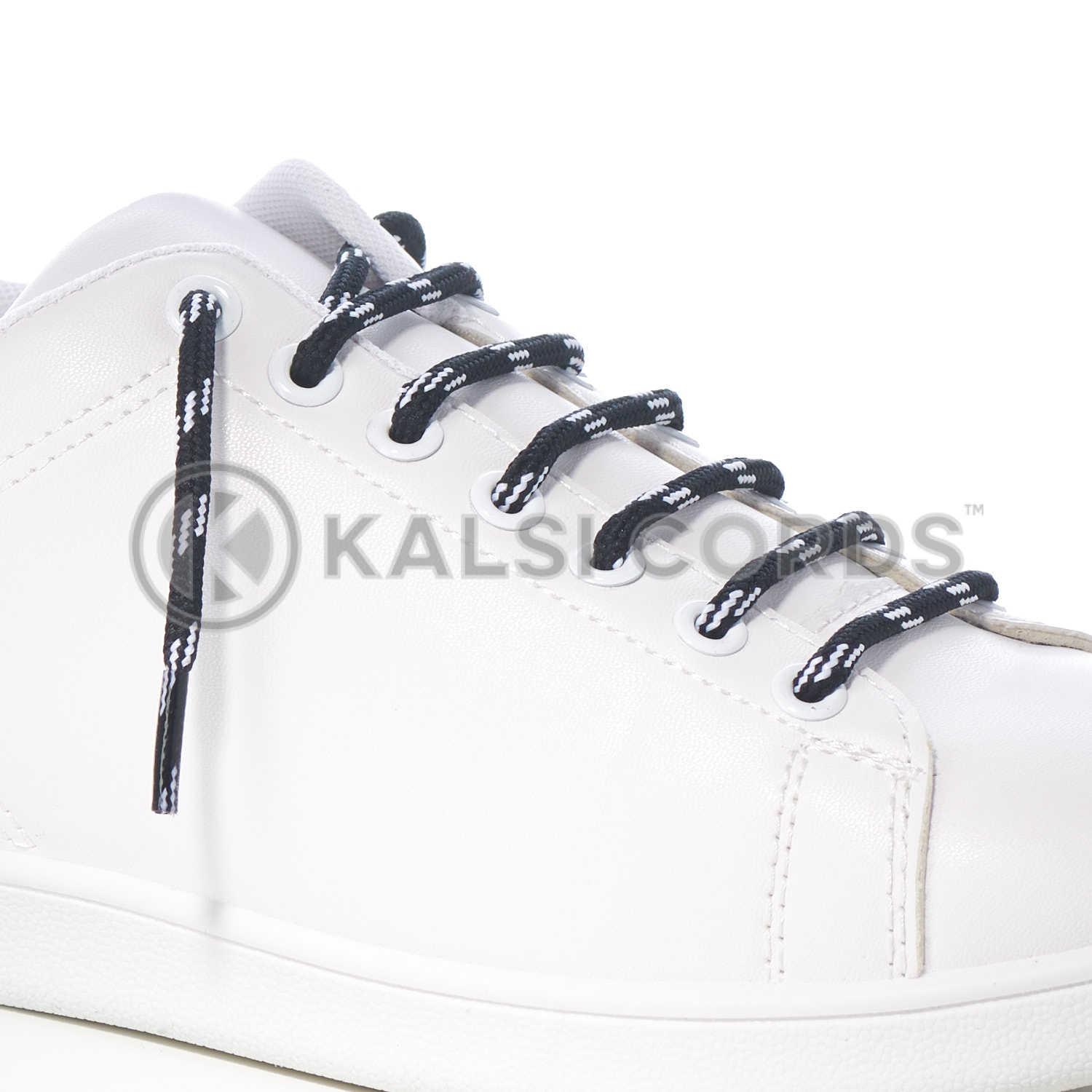 T621 5mm Round Cord Shoe Lace Black White 4 Fleck Kids Trainers Adults Hiking Walking Boots Kalsi Cords