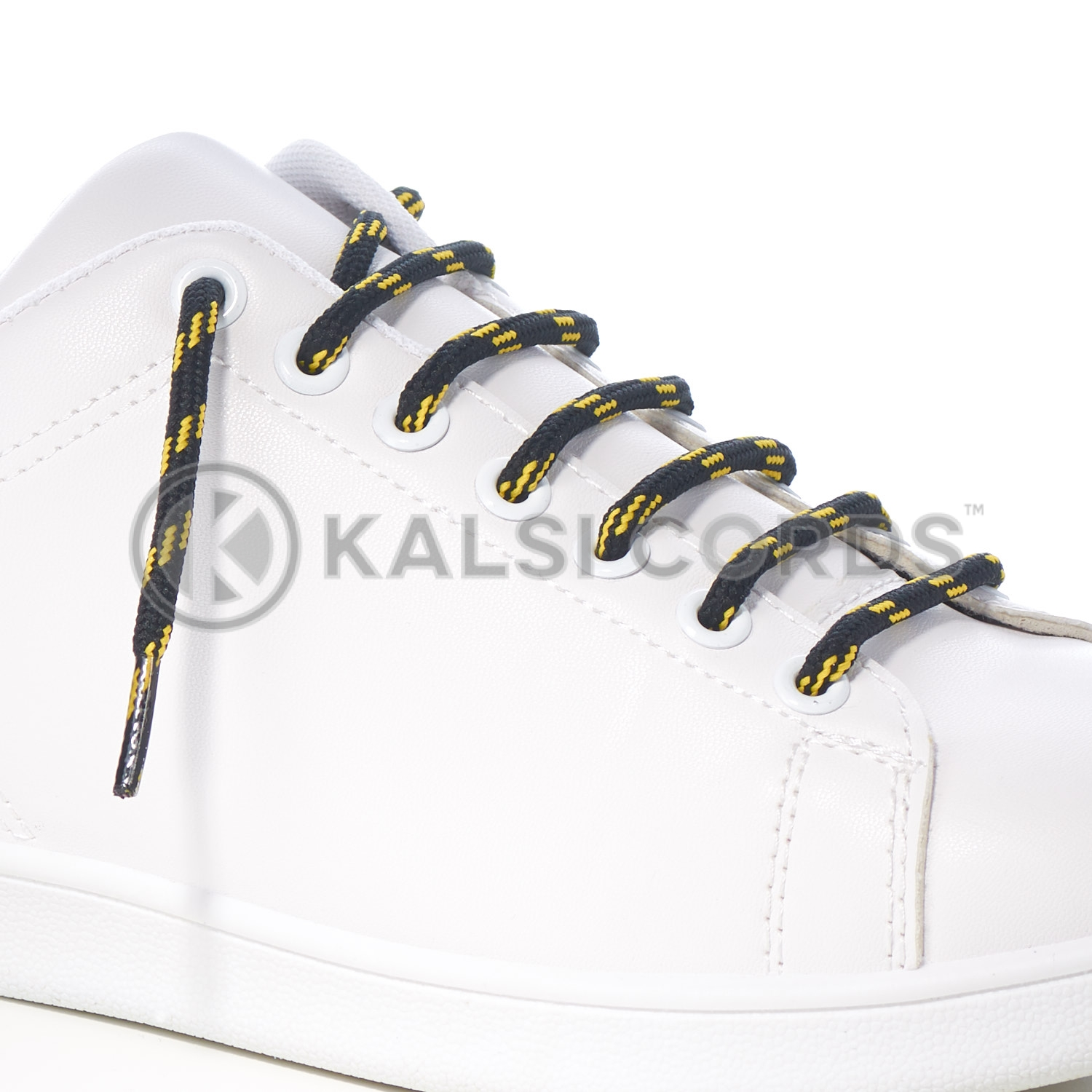 T621 5mm Round Cord Shoe Lace Black Yellow 4 Fleck Kids Trainers Adults Hiking Walking Boots Kalsi Cords