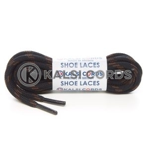 T621 5mm Round Cord 4 Fleck Shoe Laces Black with York Brown 1 Kalsi Cords