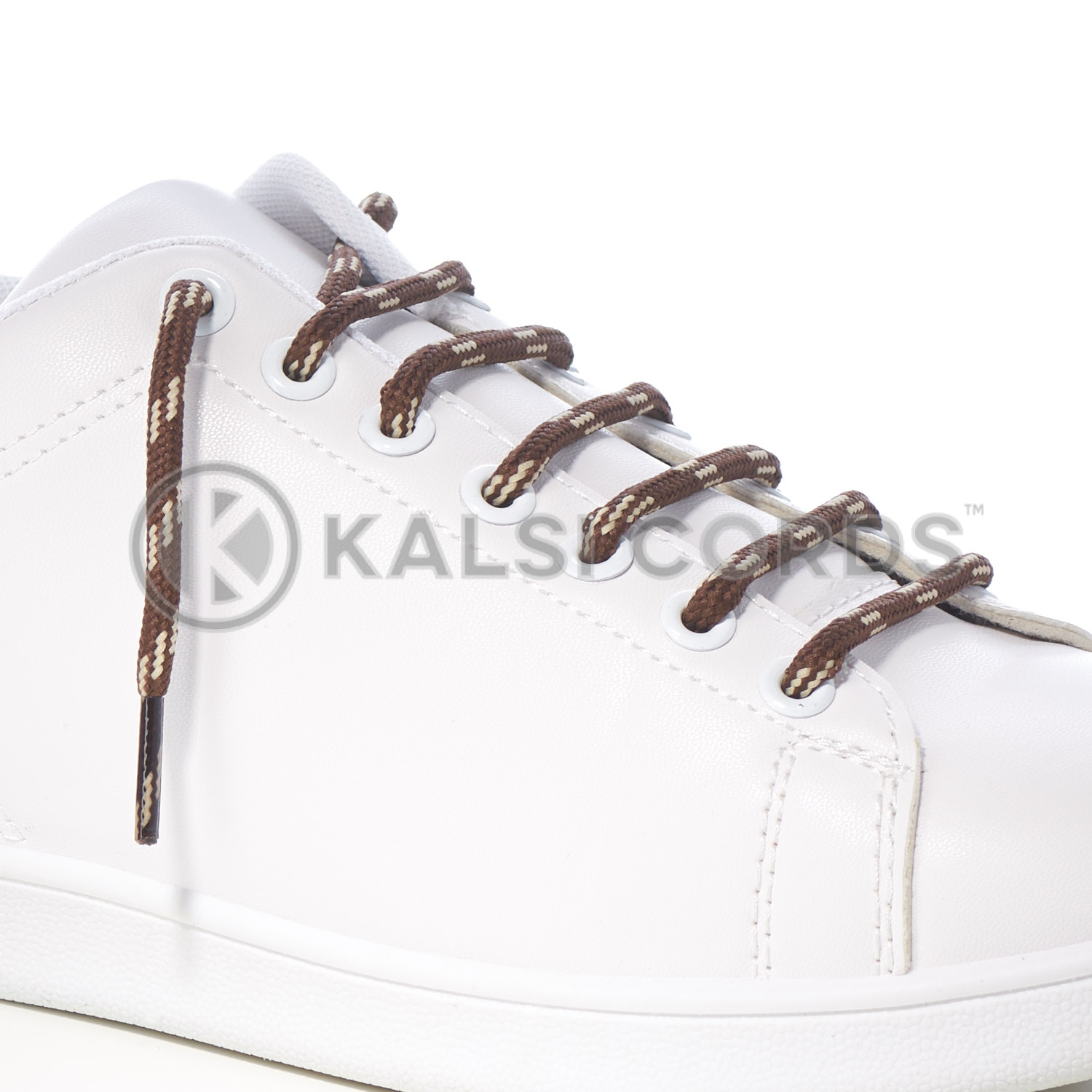 T621 5mm Round Cord Shoe Lace York Brown Cream 4 Fleck Kids Trainers Adults Hiking Walking Boots Kalsi Cords