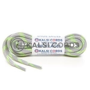 T621 5mm Round Cord Shoe Laces Light Grey Fluorescent Lime Green 4 Fleck Kids Trainers Adults Hiking Walking Boots Kalsi Cords