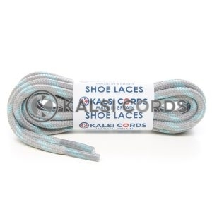 T621 5mm Round Cord Shoe Laces Light Grey Turquoise 4 Fleck Kids Trainers Adults Hiking Walking Boots Kalsi Cords