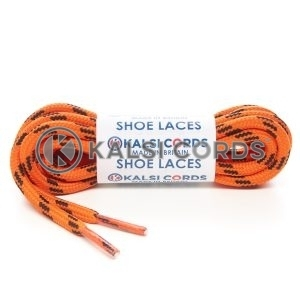 T621 5mm Round Cord Shoe Laces Orange Black 4 Fleck Kids Trainers Adults Hiking Walking Boots Kalsi Cords