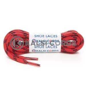 T621 5mm Round Cord Shoe Laces Red Black 4 Fleck Kids Trainers Adults Hiking Walking Boots Kalsi Cords