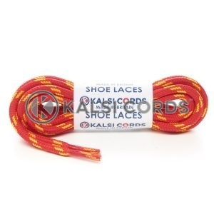 T621 5mm Round Cord Shoe Laces Red Yellow 4 Fleck Kids Trainers Adults Hiking Walking Boots Kalsi Cords