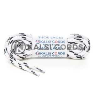 T621 5mm Round Cord Shoe Laces White Black 4 Fleck Kids Trainers Adults Hiking Walking Boots Kalsi Cords