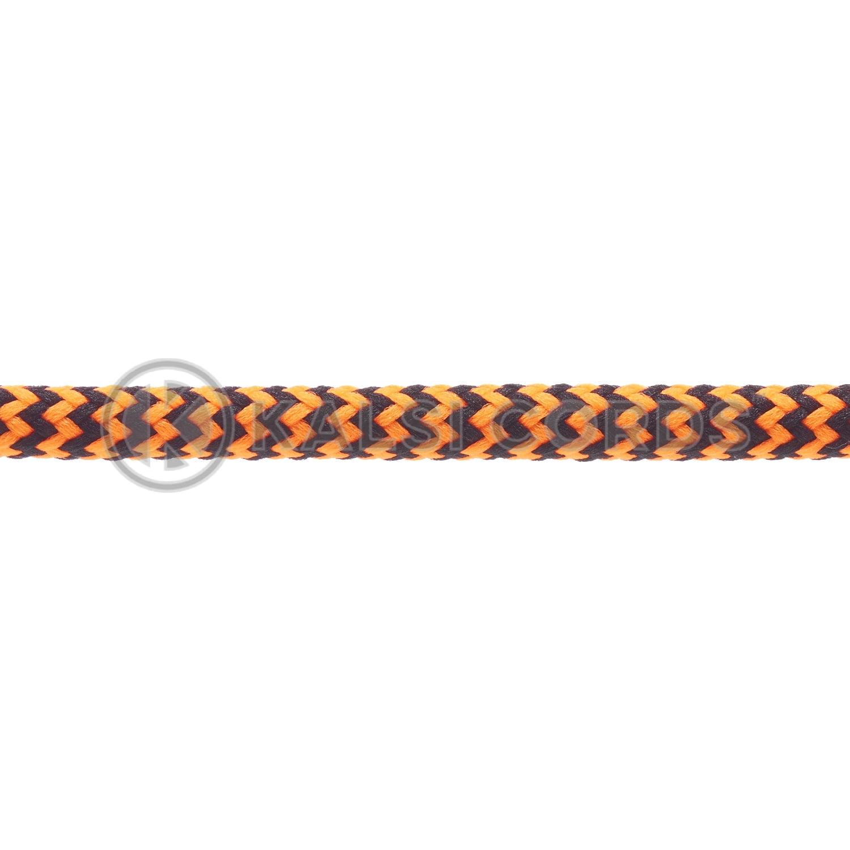 T621 5mm Round Cord Shoe Laces Black Fluorescent Neon Orange Herringbone Pattern Kids Trainers Adults Hiking Walking Boots Kalsi Cords