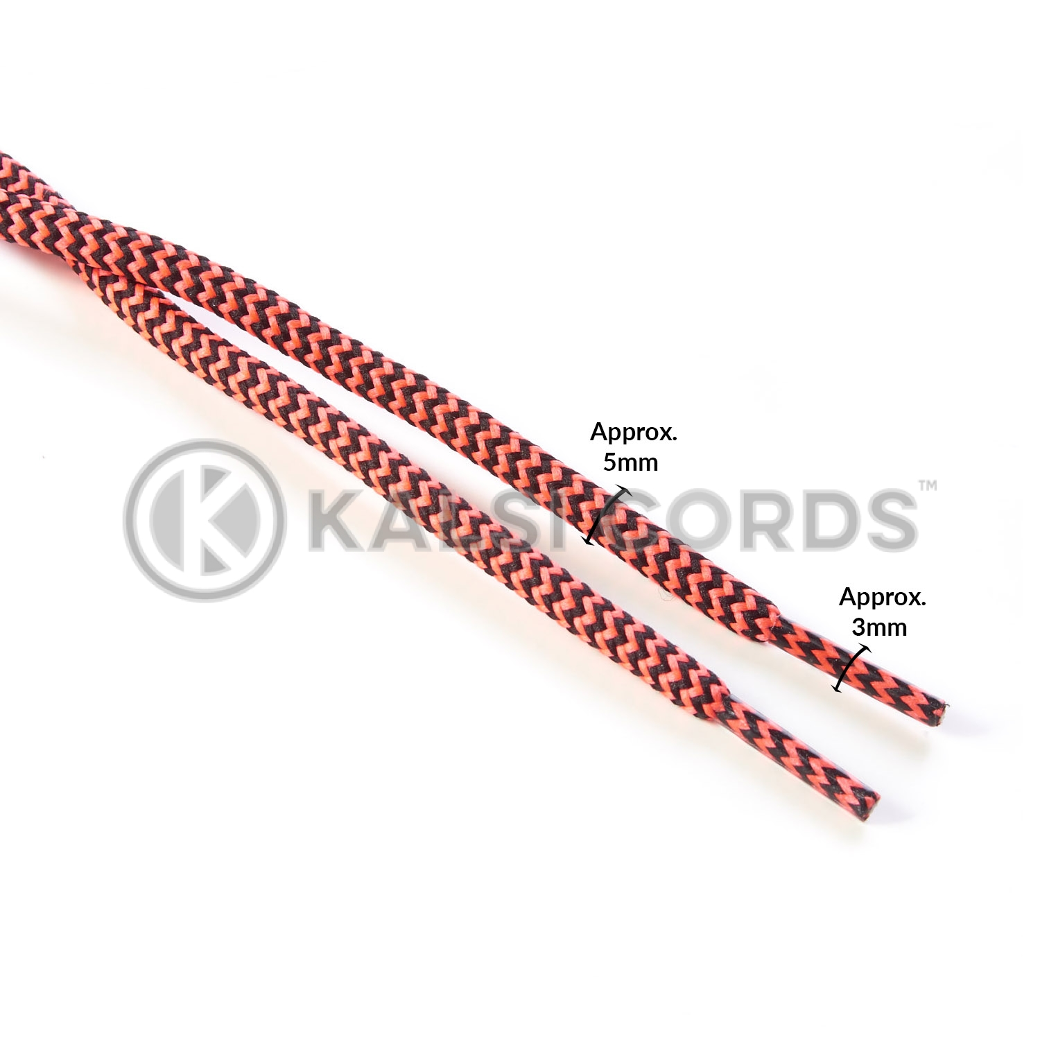 T621 5mm Round Cord Shoe Laces Black Flo Pink Herringbone Pattern Kids Trainers Adults Hiking Walking Boots Kalsi Cords