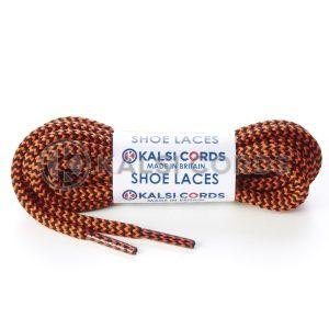T621 5mm Round Cord Herringbone Shoe Laces Black Orange 1 Kalsi Cords