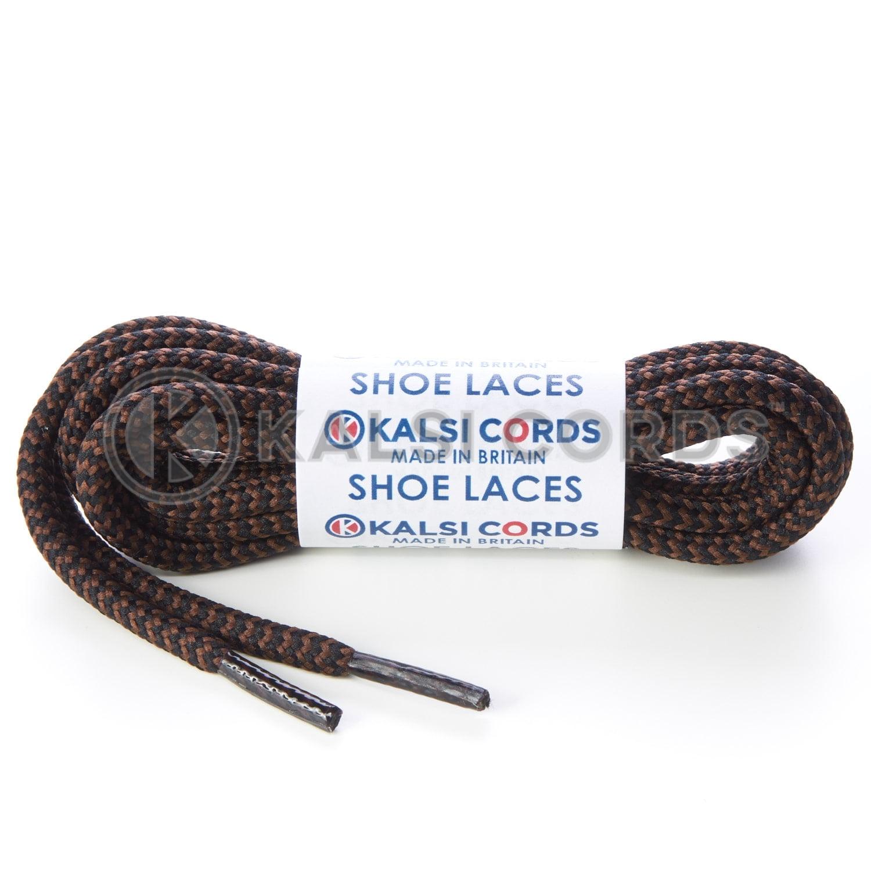 T621 5mm Round Cord Shoe Laces Black York Brown Herrigbone Pattern Kids Trainers Adults Hiking Walking Boots Kalsi Cords