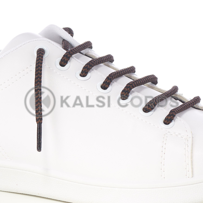 T621 5mm Round Cord Shoe Lace Black York Brown Herringbone Pattern Kids Trainers Adults Hiking Walking Boots Kalsi Cords