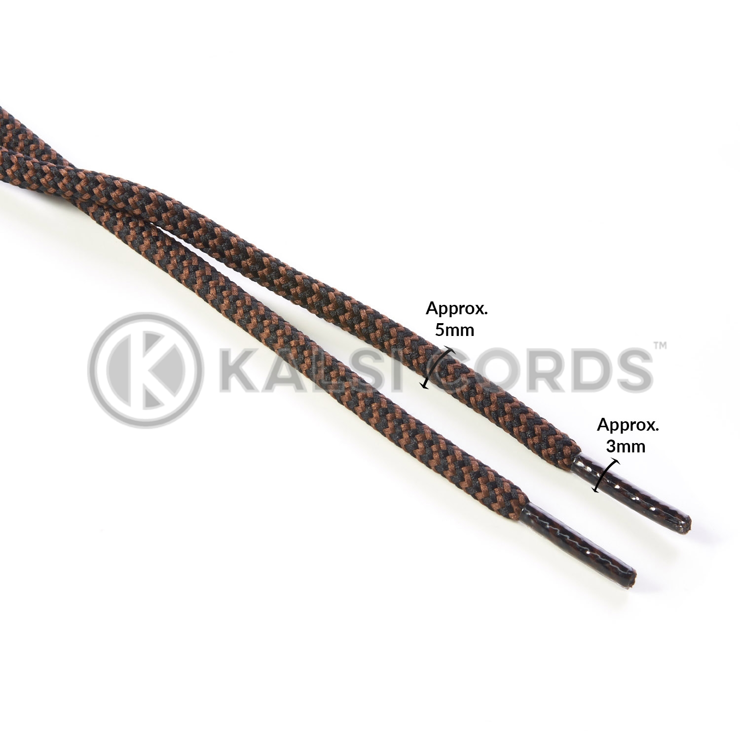 T621 5mm Round Cord Shoe Laces Black York Brown Herringbone Pattern Kids Trainers Adults Hiking Walking Boots Kalsi Cords