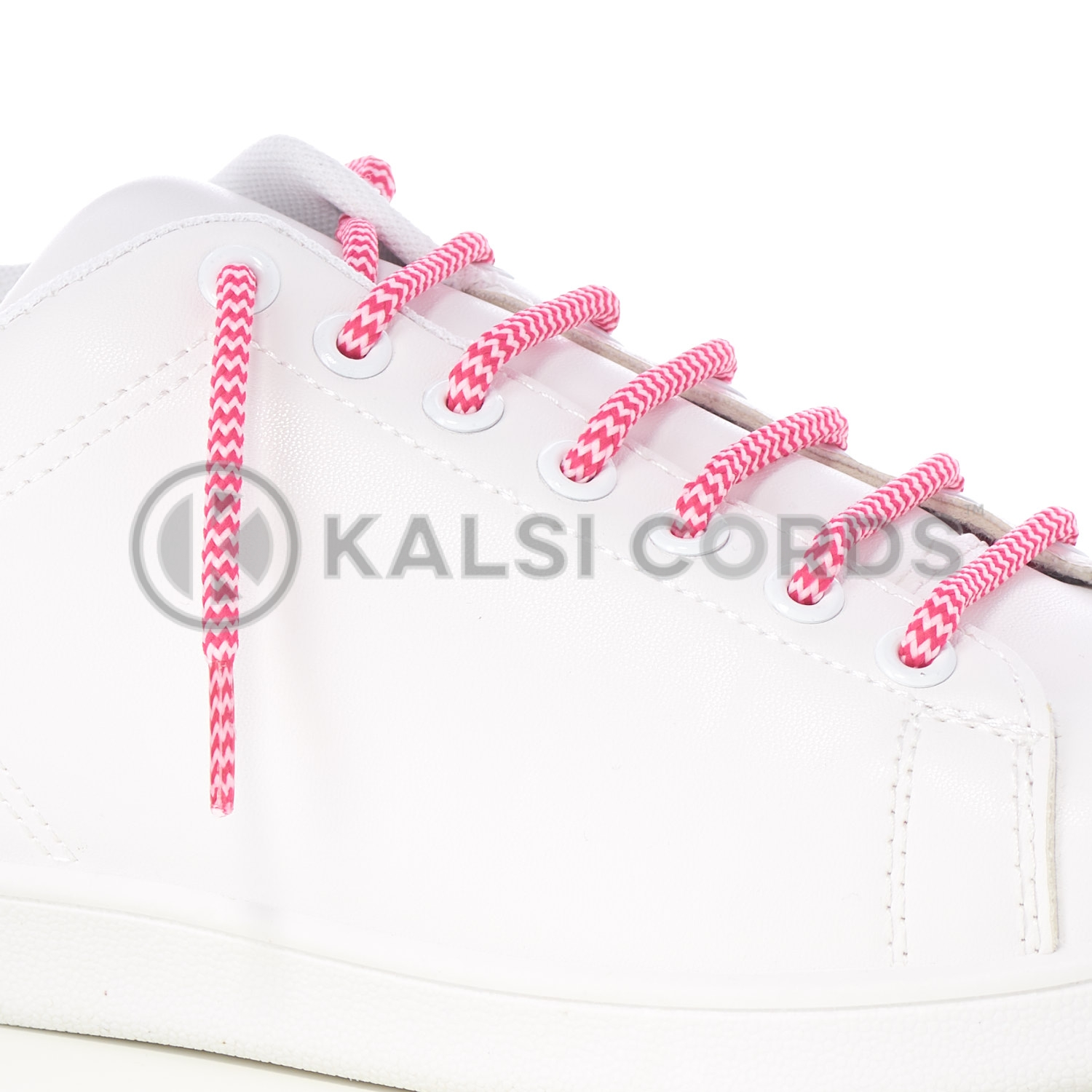 T621 5mm Round Cord Shoe Lace Cerise Baby Pink Herringbone Pattern Kids Trainers Adults Hiking Walking Boots Kalsi Cords