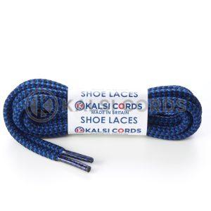 T621 5mm Round Cord Shoe Laces Royal Blue Black Herrigbone Pattern Kids Trainers Adults Hiking Walking Boots Kalsi Cords